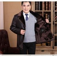 加绒加厚皮衣男冬装中年爸爸装冬外套中老年冬季中长款皮夹克翻领