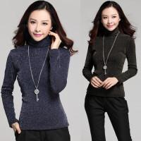 米衣连 秋冬季加绒加厚保暖长袖打底衫韩版女装修身高领上衣T恤