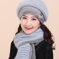 帽子女韩版兔毛帽无檐贝雷帽保暖针织毛线帽中老年帽子