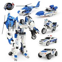 儿童合金变形玩具金刚合体正版机器人飞机摩托警察车模型男孩礼物