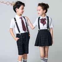 儿童礼服背带裤套装演出服钢琴表演服装男孩女孩春夏