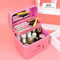 双层化妆包大容量可爱洗漱包便携旅行收纳包多功能大号化妆箱手提 尺寸:长24*宽17*高21cm