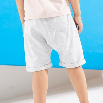 【尾品汇 5折直降】amii童装2017夏新款男童棉麻短裤中大童折边裤脚薄款哈伦小短裤