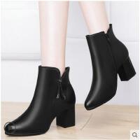 古奇天伦小跟短靴新款秋冬季女鞋子加绒粗跟马丁靴高跟女靴子