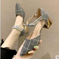 女鞋学生百搭蝴蝶结中跟粗跟一字扣单鞋尖头高跟鞋潮