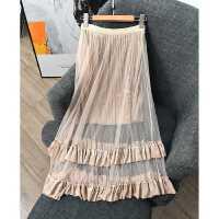 chao仙的款式 上身很美~松紧高腰纯色蕾丝中长裙半身裙女 XZ1338