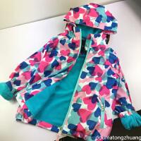 女童装 连帽冲锋衣 秋冬儿童宝宝加绒防风衣棉衣加厚防水外套