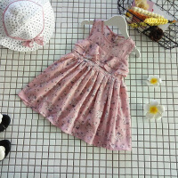 韩版夏季新款女童碎花裙中小童甜美荷叶边背心裙连衣裙送帽子