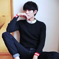 韩版男士秋冬季上衣线衫修身圆领长袖打底衫男毛衣针织衫潮流男装
