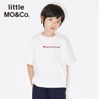 littlemoco冬季新品女童短袖男童短袖圆领字母绒感印花儿童T恤