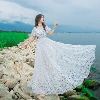 【】 手绘印花飞飞袖超大摆修身连衣裙沙滩长裙 白色