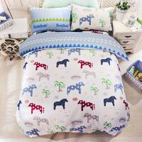 卡通床上用品 儿童三件套纯棉四件套全棉家纺1.2 1.5 1.8 2.0米床 旋转木马