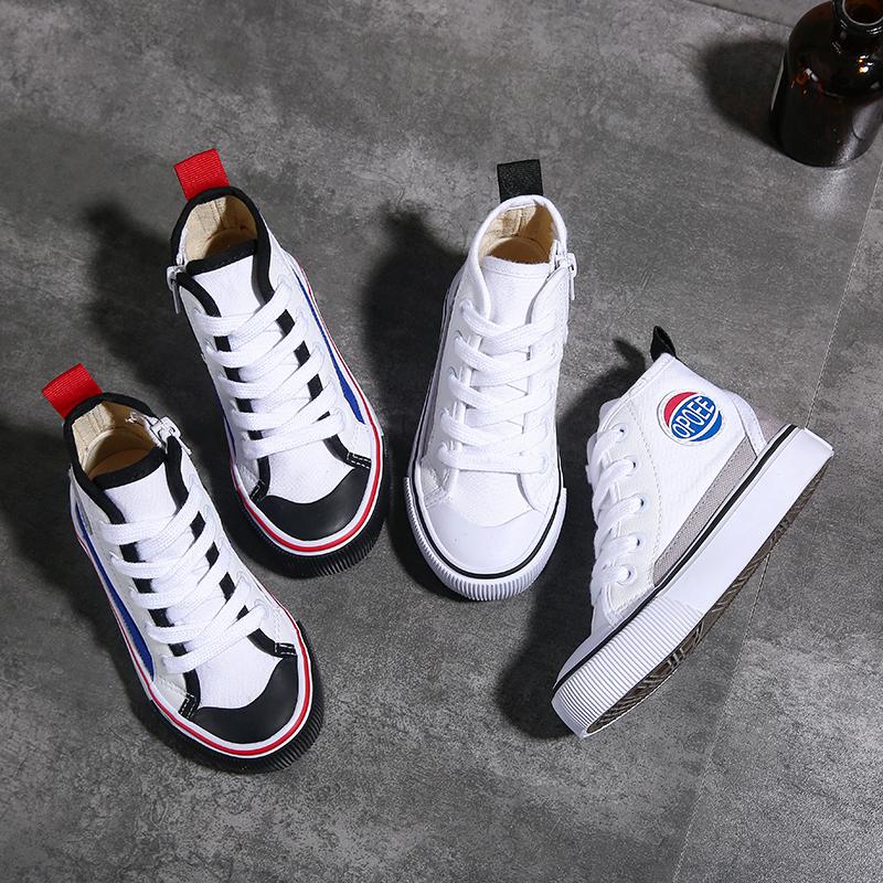 童鞋女儿童帆布鞋高帮女童鞋子男童布鞋韩版系带板鞋