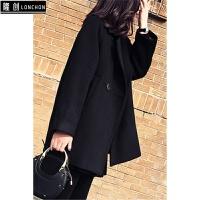 秋冬季新款时尚套装韩版呢子大衣毛衣连衣裙女修身打底裤三件套
