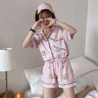 夏季韩版可爱卡通翻领短袖睡衣+短裤套装家居服学生休闲三件套潮