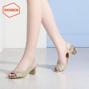 shoebox鞋柜夏季新款韩版休闲粗跟女鞋侧空性感鱼嘴中跟凉鞋