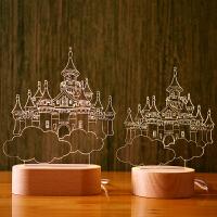 北欧实木台灯哈尔的创意3D小夜灯生日礼物床头灯 大城堡 可充电底座遥控开关