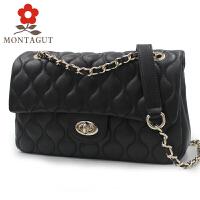 梦特娇(Montagut)新款单肩斜挎包女士包包时尚菱格潮流链条包女包