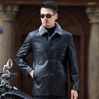 秋冬中年男士皮毛一体真皮皮衣立领外套中长款韩版修身男夹克