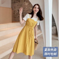 【爆款力荐】连衣裙2019新款夏假两件黄色智熏裙法式收腰仙女长裙流行女士裙子