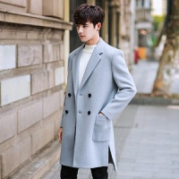 秋冬季中长款韩版男士修身潮流妮子风衣青年帅气西装毛呢大衣外套