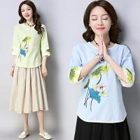 印花七分袖T恤女装春夏季新款大码宽松民族风上衣
