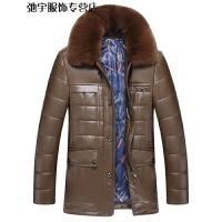 冬季男士PU皮衣中年翻领男式皮草棉衣外套可脱卸毛领加厚皮棉衣男 卡其色 170/M