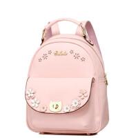 小清新双肩背包学生 花朵女包粉色旅游背包学院风