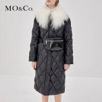 MOCO冬季大毛领领羽绒服女过膝中长款修身MA183EIN104 摩安珂
