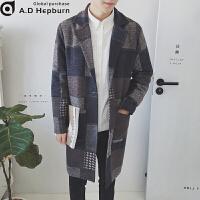 潮牌男士风衣男冬季韩版潮流中长款修身格子毛呢休闲大衣帅气外套 XL 建议体重140斤内