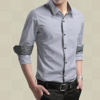 男士衬衫长袖修身型纯棉色衬衣韩版商务休闲短袖寸衫衣服春夏装潮