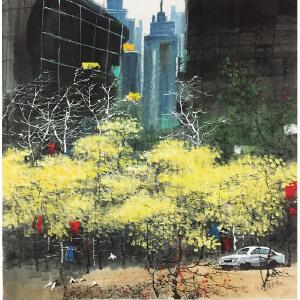 刘懋善《都市一角》著名画家