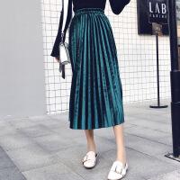 半身裙2018年春季中长款时尚潮流气质优雅韩版纯色 均码