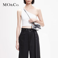 MOCO2019春季新品运动风丝光棉斜肩背心MAI1VET007 摩安珂