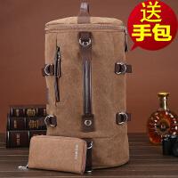 圆筒帆布韩版背包大容量单肩书包男士多功能双肩包旅行水桶行李包
