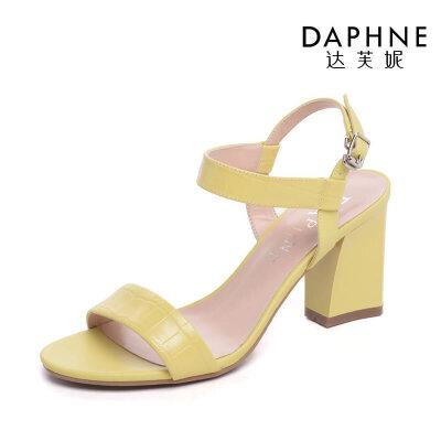 Daphne/达芙妮春夏休闲优雅粗方跟露趾高跟女凉鞋