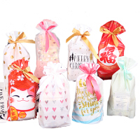 10个抽绳袋礼品情人节包装袋雪花酥牛轧糖束口袋喜糖糖果袋饼干袋 英文Christmas (丝带)10只