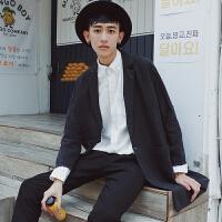 韩版春季男士中长款纯色风衣宽松一粒扣休闲潮流bf外套