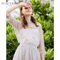 太平鸟灰色雪纺衫女2019春夏新款甜美仙的上衣洋气网纱两件套女