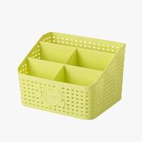 当当优品 仿藤编五格化妆品收纳盒 桌面杂物整理盒 绿色