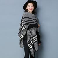 秋冬新款韩版条纹围巾披肩中长款开衫V领七分袖加厚外套女 灰色 均码