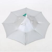 钓鱼伞帽头戴遮阳伞防晒折叠头顶雨伞帽户外垂钓摄影二折帽伞