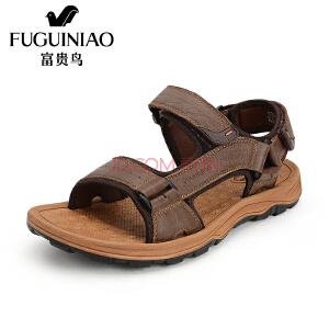 富贵鸟(FUGUINIAO) 夏季新休闲磨砂凉鞋沙滩男士透气凉鞋