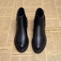 2017新款秋冬短筒靴子低跟女靴厚底及踝靴马丁靴裸靴女 黑色