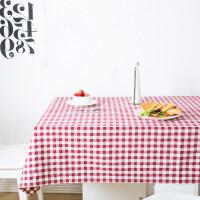 双面红白格子桌布布艺田园方格布料家用客厅餐桌茶几布