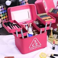 天天化妆包大容量多功能大号护肤品多层收纳盒化妆箱手提 玫红色 3ce款