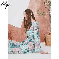 【不打烊价:269.7元】 Lily春新款女装撞色印花不规则一字领收腰连衣裙118140C7238