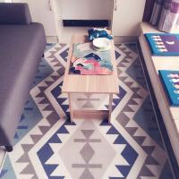 北欧几何地毯美式客厅沙发茶几主卧简约现代房间榻榻米床边地垫蓝