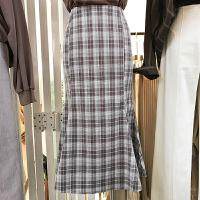 韩国ulzzang2018春装新款通勤显瘦高腰鱼尾半身裙女格子中长裙潮