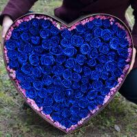 蓝色妖姬干花花束礼盒 蓝色妖姬上海鲜花速递同城蓝玫瑰花束礼盒杭州苏州成都生日送花店 不含花瓶